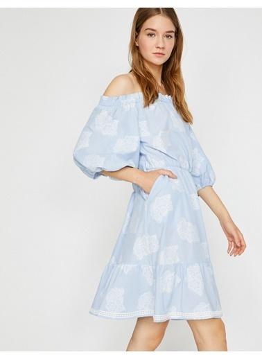 Koton Kayık Yaka Balon Kol Elbise Mavi